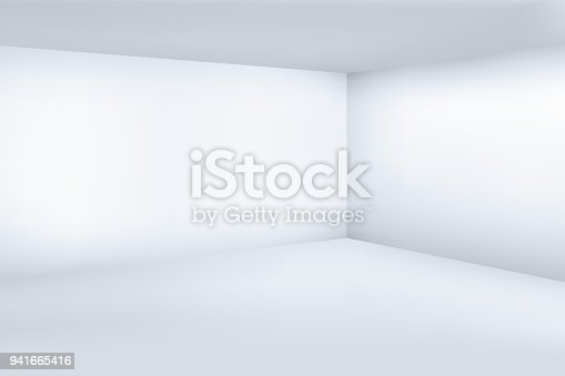 istock Empty white 3d modern room with space clean corner vector illustration 941665416