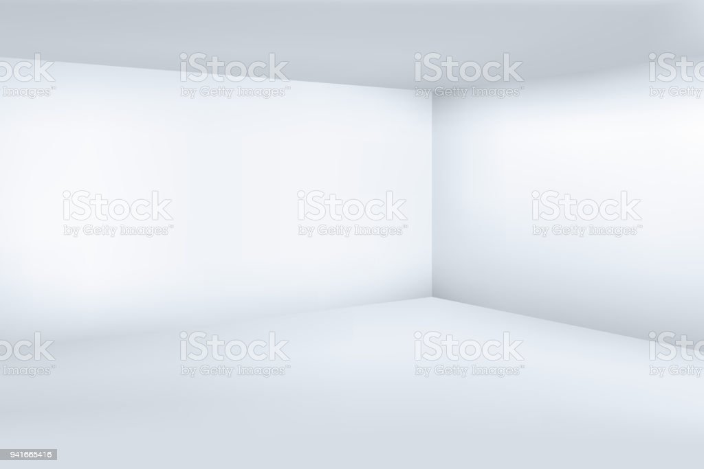 Empty white 3d modern room with space clean corner vector illustration vector art illustration