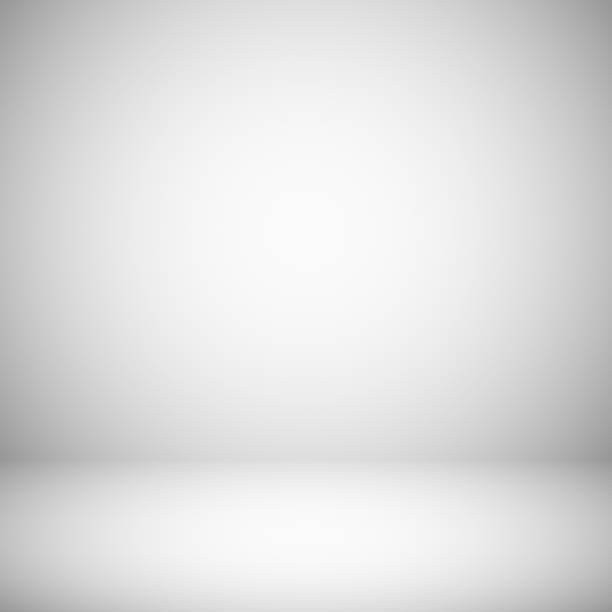 bildbanksillustrationer, clip art samt tecknat material och ikoner med tomma vita och grå ljus studio rum interiör. 3d plain grå mjuk gradient vector bakgrund - skuggig