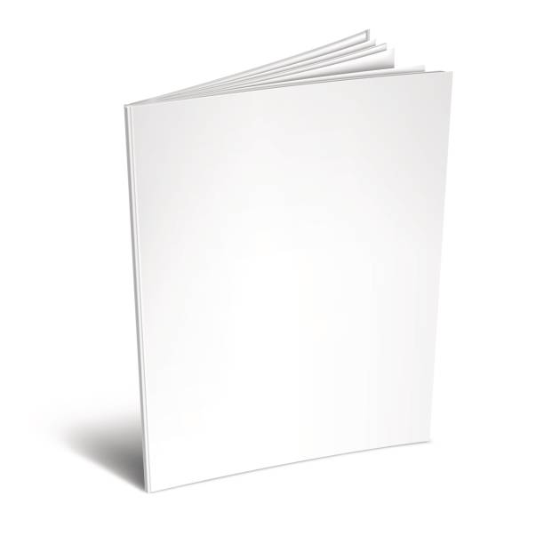 Empty White Book or Magazine Opened book or magazine with empty blank pages and cover. White object mockup or template isolated on white background book clipart stock illustrations