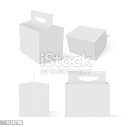 empty white box beer packaging on a white background vector mock up