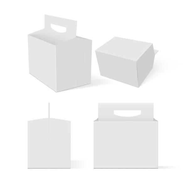 illustrazioni stock, clip art, cartoni animati e icone di tendenza di empty white box beer packaging on a white background vector mock up - portare