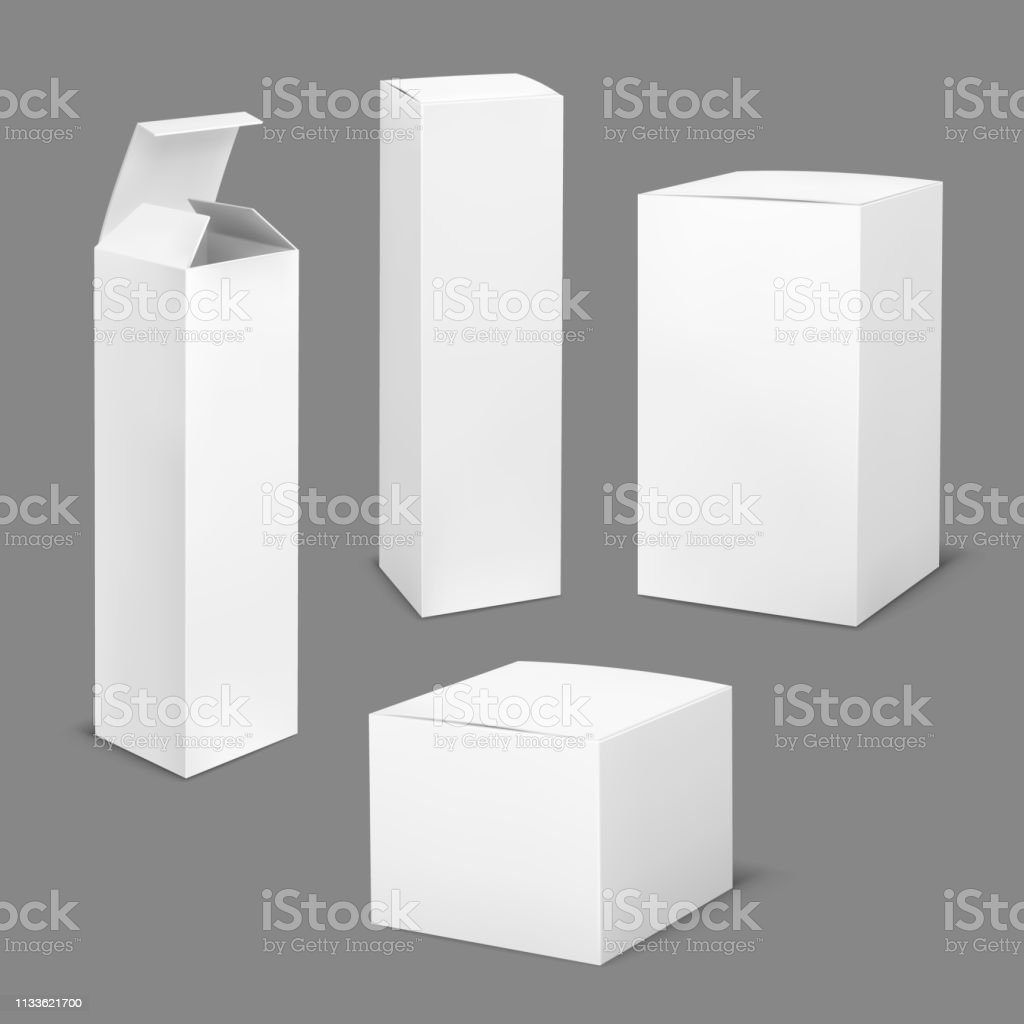 Empty white box. Cardboard cosmetic boxes rectangular blank package...
