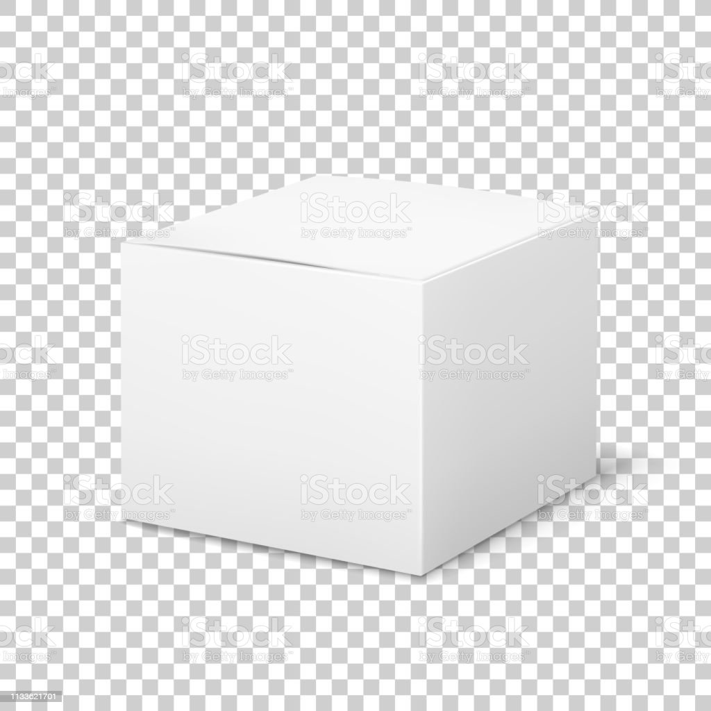 Empty white box. Cardboard cubic cosmetic box blank package with...