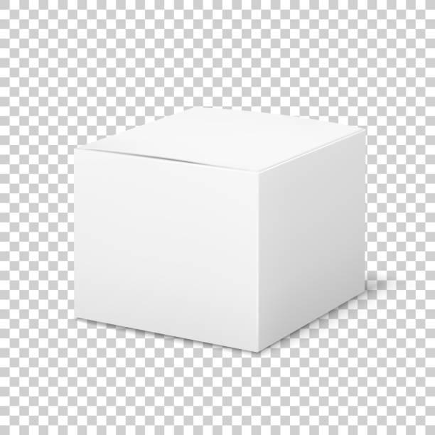 空の白い箱。影の医学プロダクト包装ベクトルテンプレートが付いているボール紙の立方の化粧品箱のブランクパッケージ - box点のイラスト素材/クリップアート素材/マンガ素材/アイコン素材