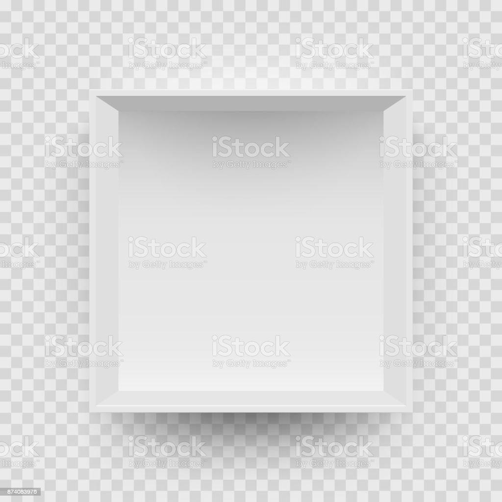 Caixa branca vazia simulada modelo 3D vista superior modelo isolado fundo transparente - ilustração de arte em vetor