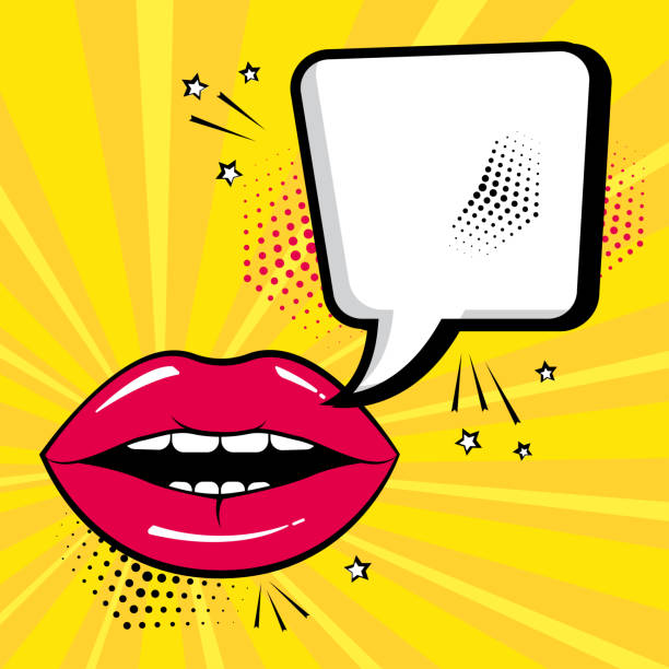 illustrazioni stock, clip art, cartoni animati e icone di tendenza di empty white comic bubble for your text with red lips on yellow background. comic sound effects in pop art style. vector illustration - bocca umana