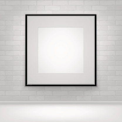 istock Empty White Mock Up Poster Picture Black Frame on Brick 641985962