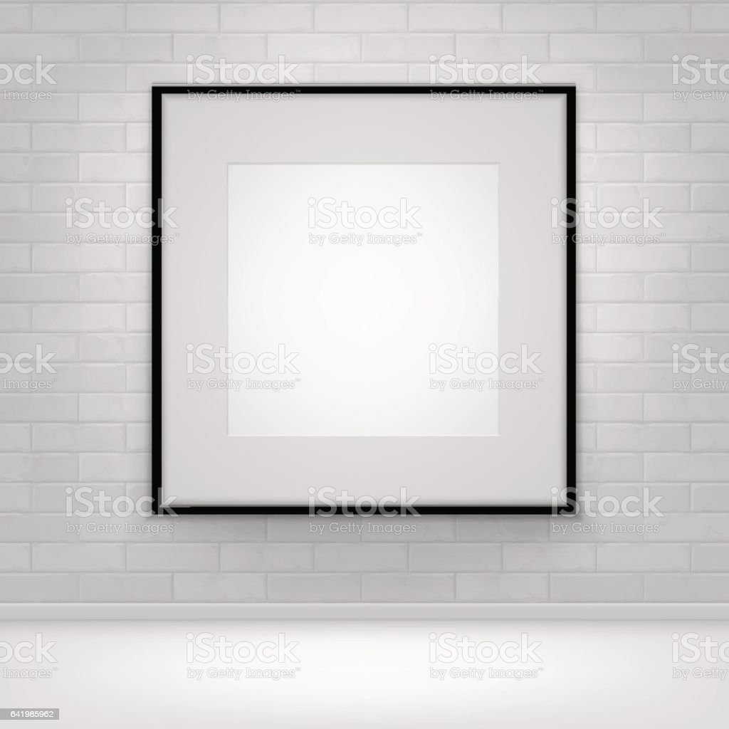 Empty White Mock Up Poster Picture Black Frame on Brick stock photo