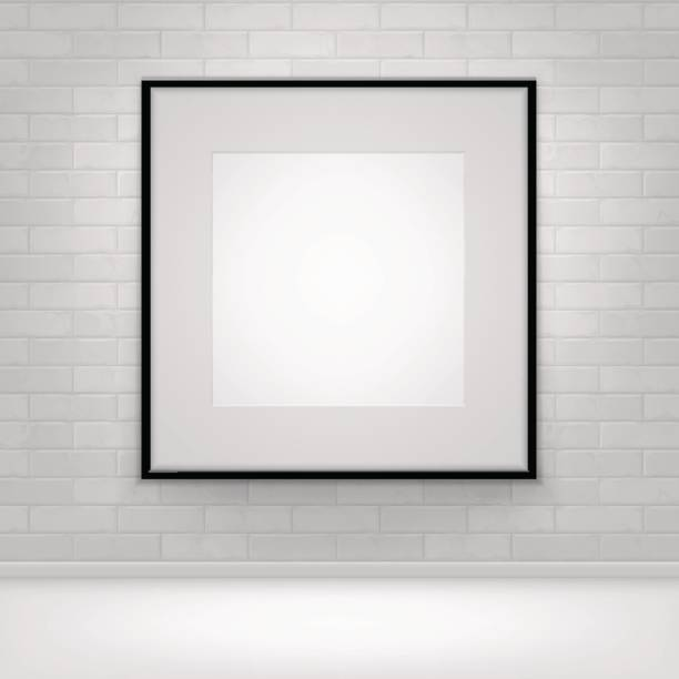 empty white mock up poster picture black frame on brick - vectors stock pictures, royalty-free photos & images