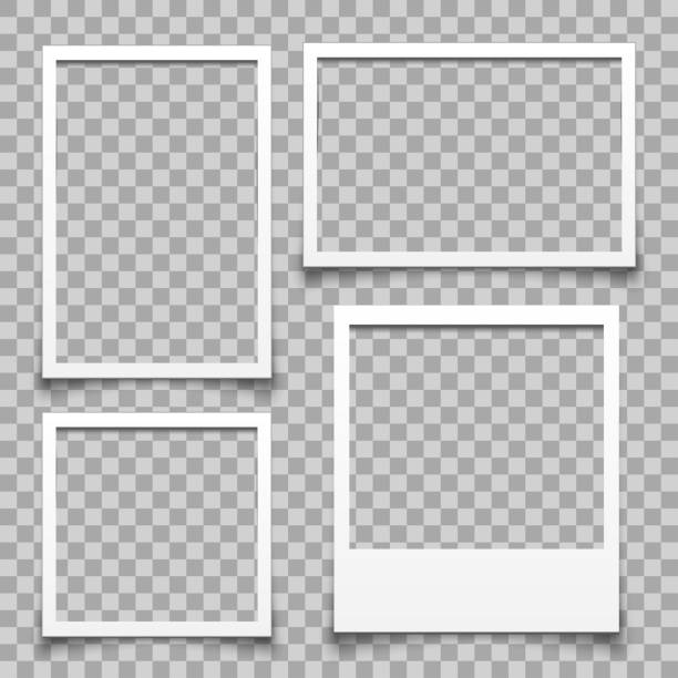empty white photo frame - for stock - space background stock illustrations
