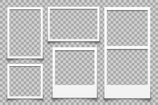 Empty white photo frame - vector Empty white photo frame - vector scrapbook stock illustrations