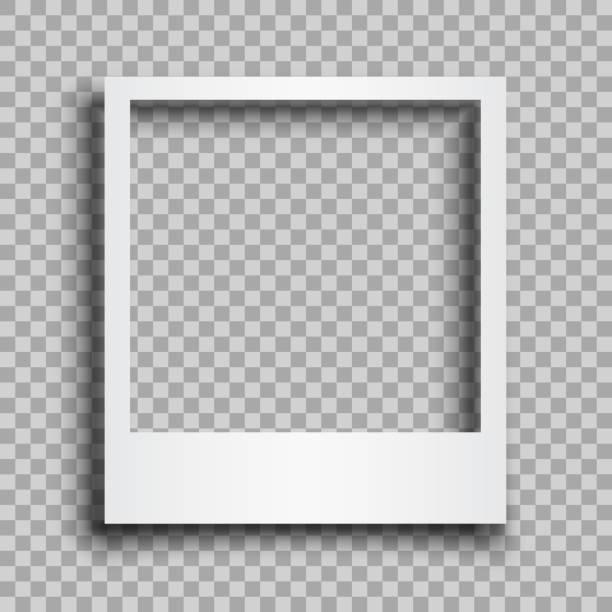 leerer weißer fotorahmen mit schatten - für lager - polaroid stock-grafiken, -clipart, -cartoons und -symbole