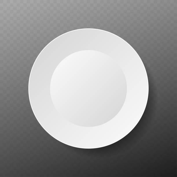 stockillustraties, clipart, cartoons en iconen met lege witte plaat. illustratie op witte achtergrond. - tafel restaurant top