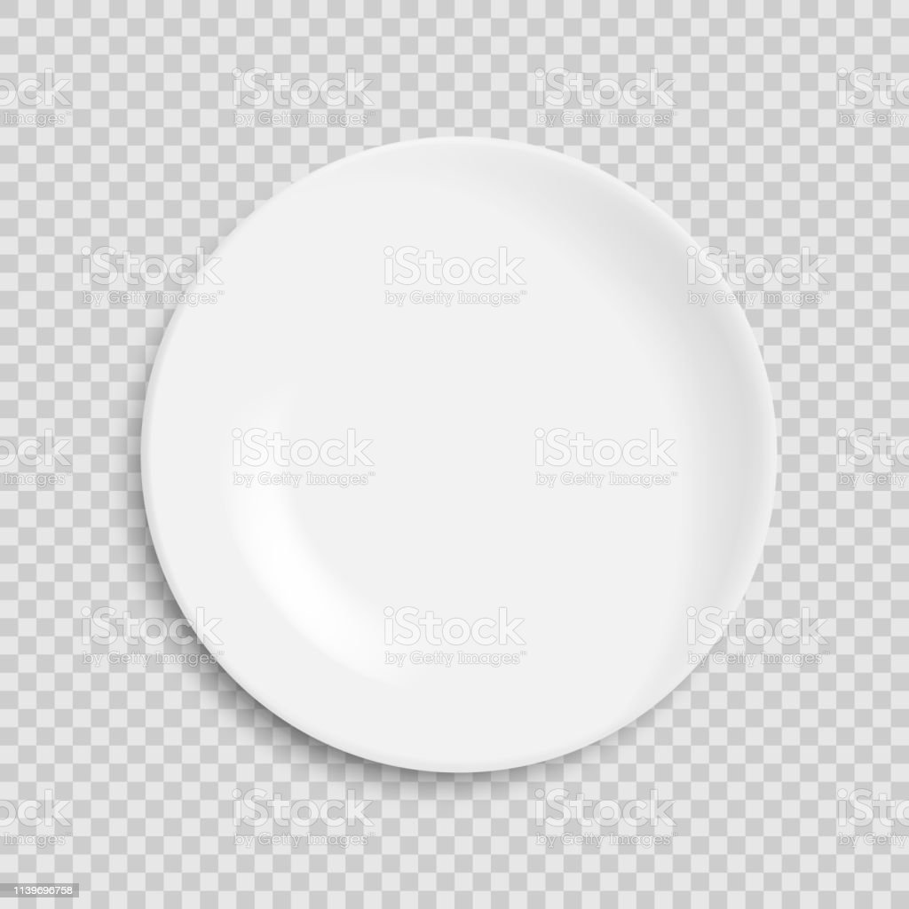empty white plate isolated on white background. Vector illustration....