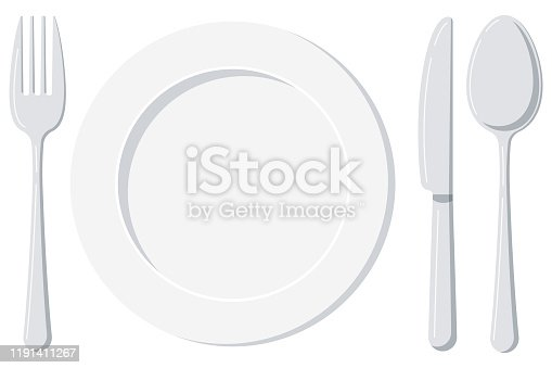 Empty white plate with spoon, knife and fork isolated on a white background. Top view silver cutlery and ceramic serving plate design template. Vector flat design cartoon style illustration.