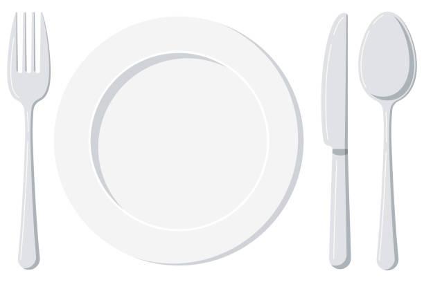 bildbanksillustrationer, clip art samt tecknat material och ikoner med tom vit plåt med sked, kniv och gaffel isolerad på vit botten. - empty plate