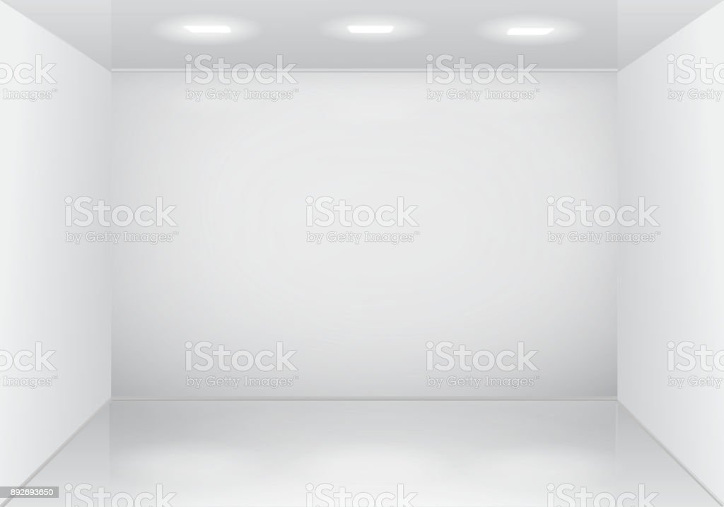 Empty white room interior. vector art illustration