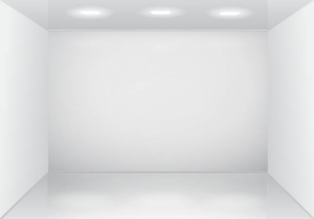 Empty white room interior. Empty white room interior. Vector 3d design no people stock illustrations