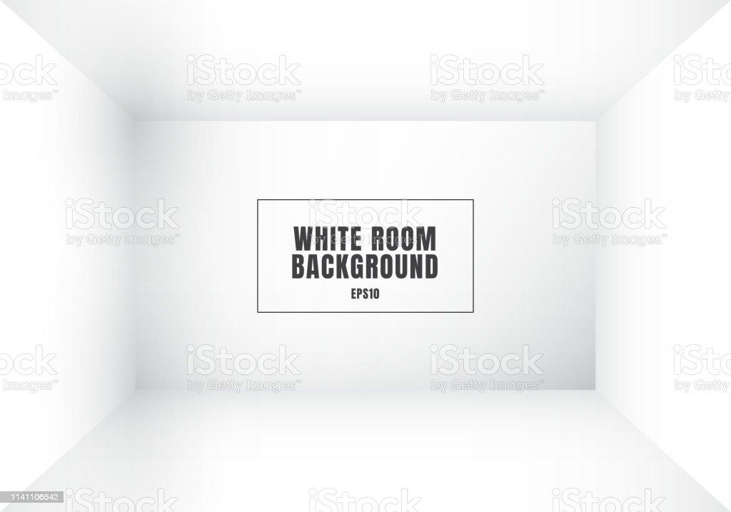 3D empty white room modern blank interior background. House, studio...