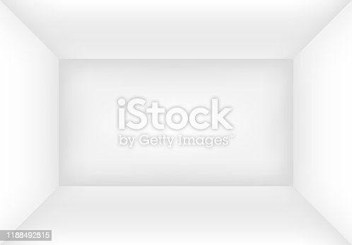 istock Empty white room or box mock up for your design. 1188492815