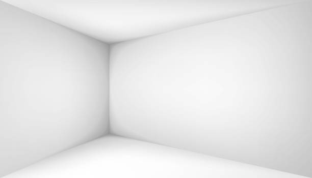 Empty white room. The inner space of the box. Corner of light box with soft shadows. Vector design illustration. Mock up for you business project Empty white room. The inner space of the box. Corner of light box with soft shadows. Vector design illustration. Mock up for you business project no people stock illustrations