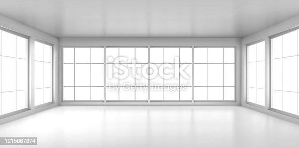istock Empty white room with large windows 1215067374
