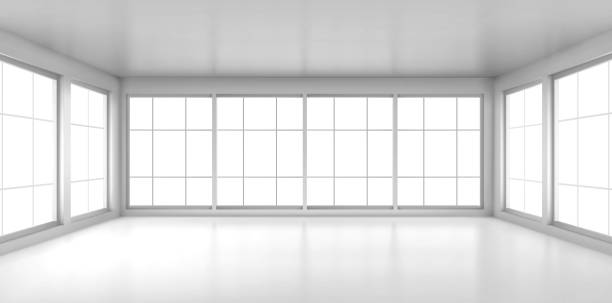 Empty white room with large windows Empty white room with large windows. Vector realistic 3d interior of office, studio, modern living room in house or apartment. Minimal style of room design interior no people stock illustrations