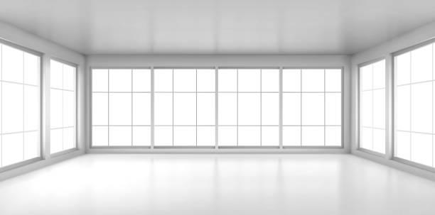 stockillustraties, clipart, cartoons en iconen met lege witte ruimte met grote vensters - zonder mensen