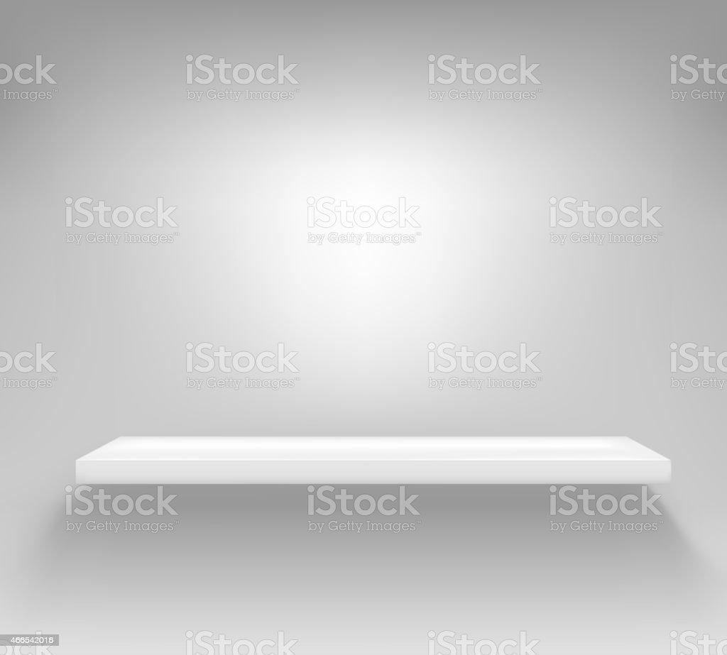 Puste Białe Półki Wiszące Na ścianie Stockowe Grafiki