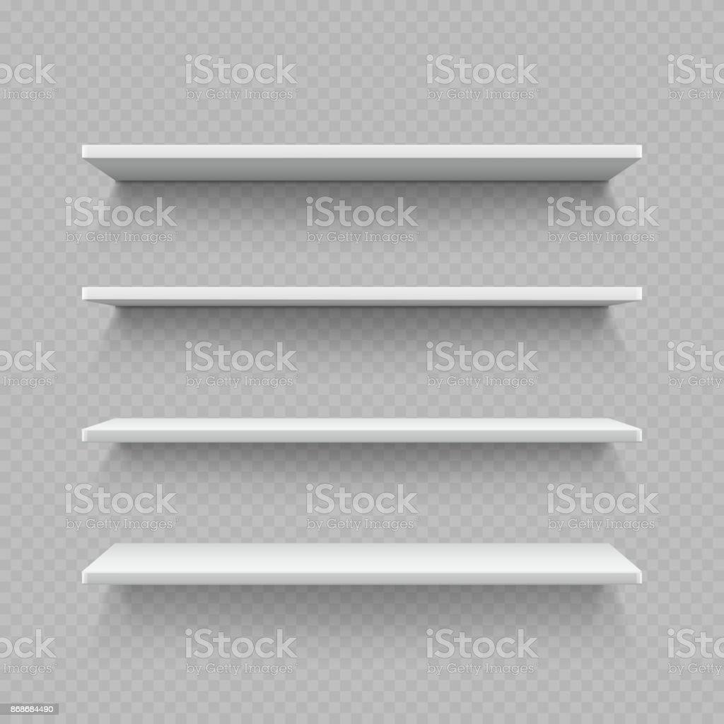 Empty white shop shelf isolated on transparent background
