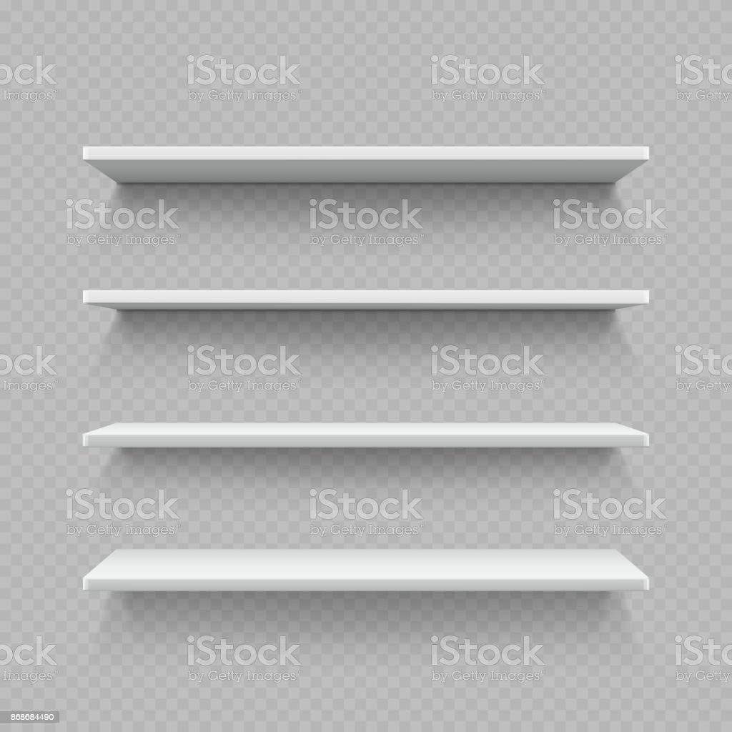 Empty white shop shelf isolated on transparent background vector art illustration