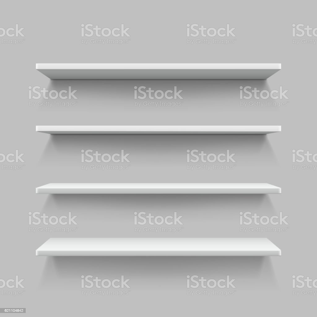 Empty White Shop Shelf Retail Shelves 3d Store Wall Display Stock