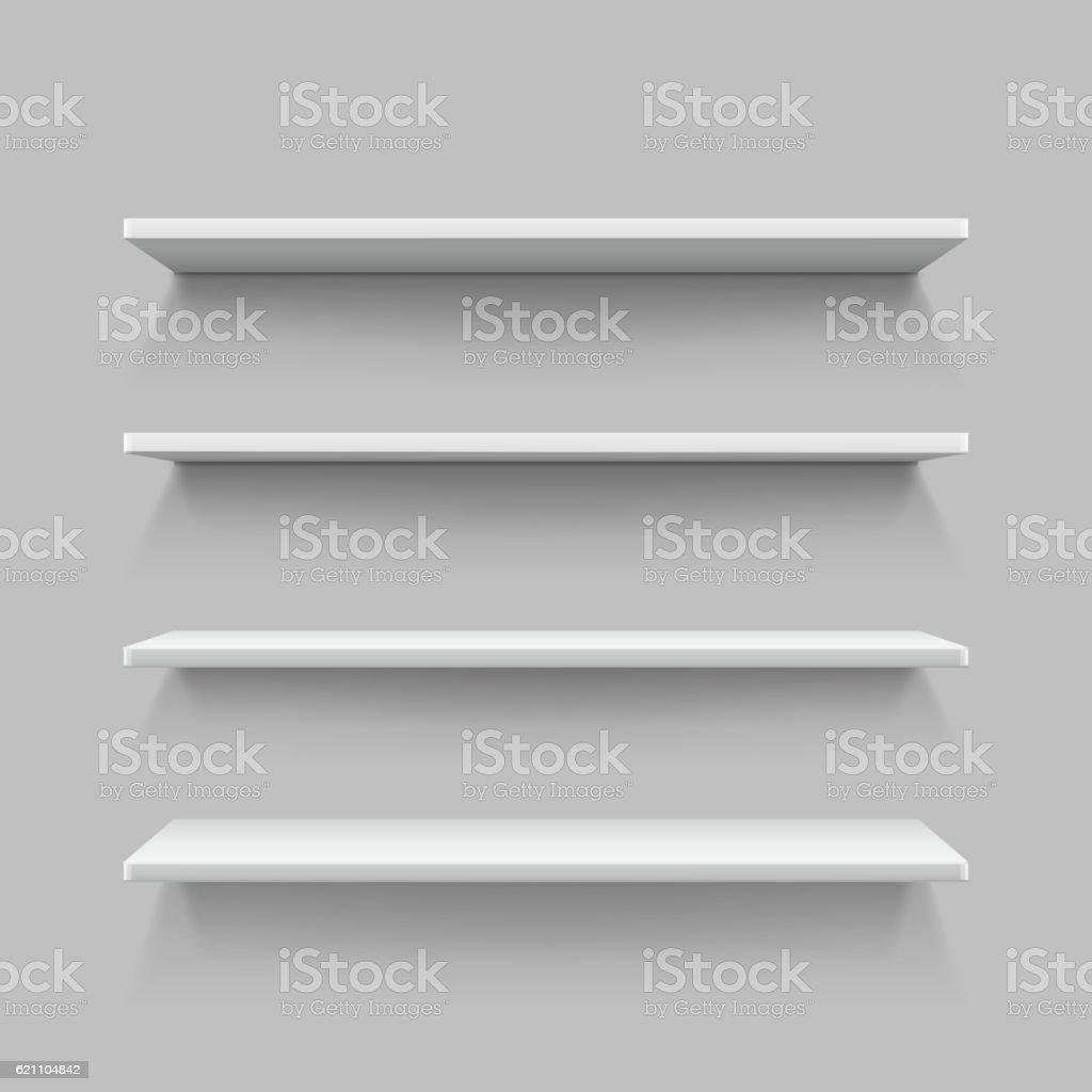 Empty white shop shelf, retail shelves, 3d store wall display vector art illustration