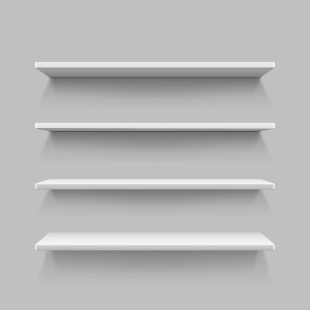 ... Empty white shop shelf, retail shelves, 3d store wall display vector  art illustration ...