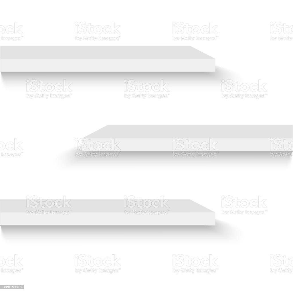 Plank Voor Aan De Muur.Lege Witte Winkel Plank Retailschappen 3d Winkel Muur Display