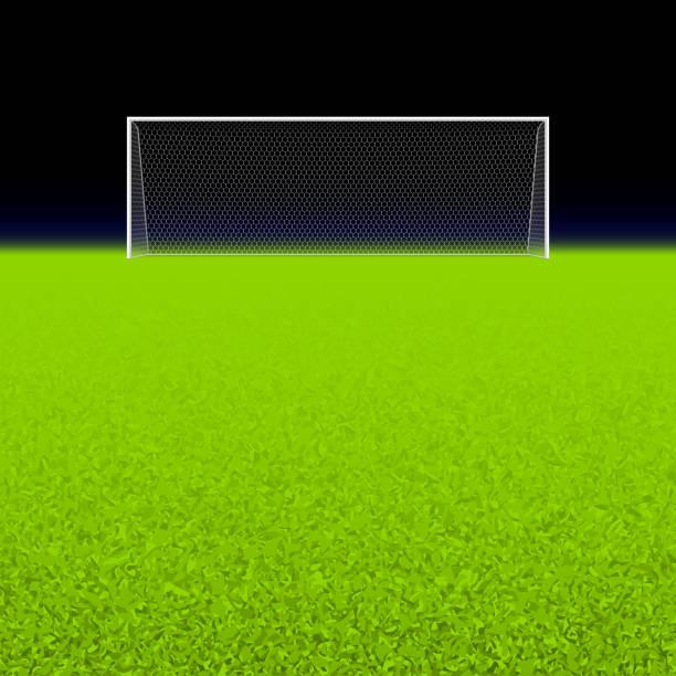 stockillustraties, clipart, cartoons en iconen met empty white soccer net on grassy green field - soccer goal
