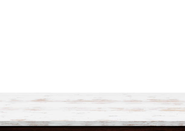 illustrazioni stock, clip art, cartoni animati e icone di tendenza di empty white wood table top isolated on white background - tavolo legno