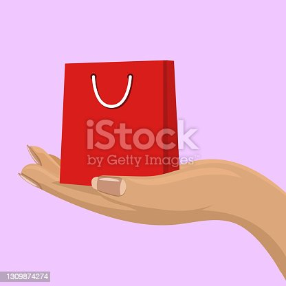 istock Empty whopping bag in female hand. Shopping concept for your design. 1309874274