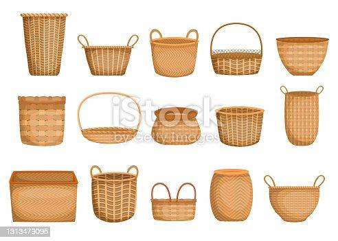 Empty wicker basket cartoon collection