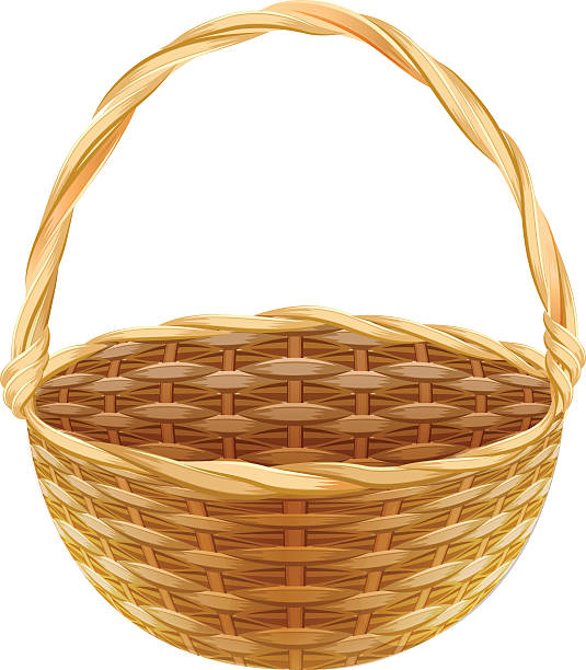 Wicker basket clipart : Wicker basket clip art vector images illustrations istock