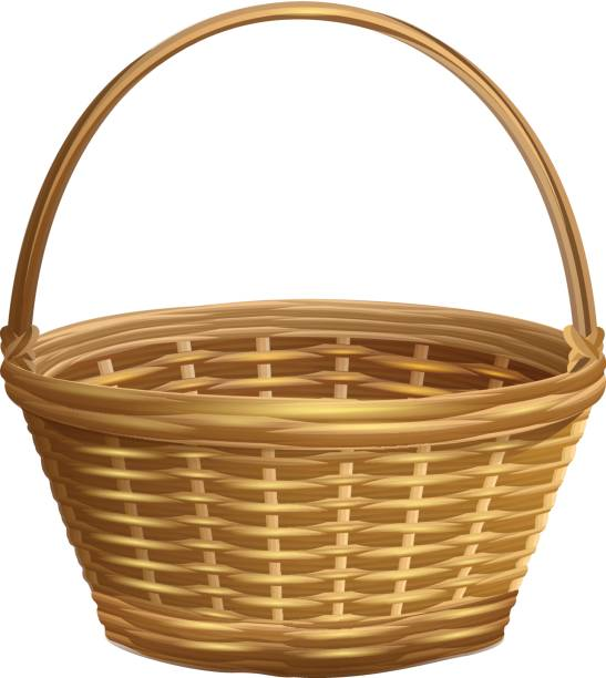 White Basket Clipart : Royalty free wicker basket clip art vector images