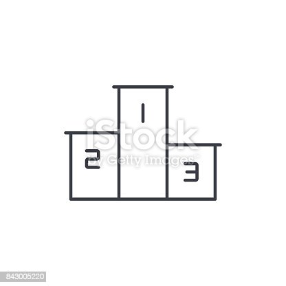 istock Empty Winners Podium, First, Second, Third Place, Award Ceremony thin line icon. Linear vector symbol 843005220