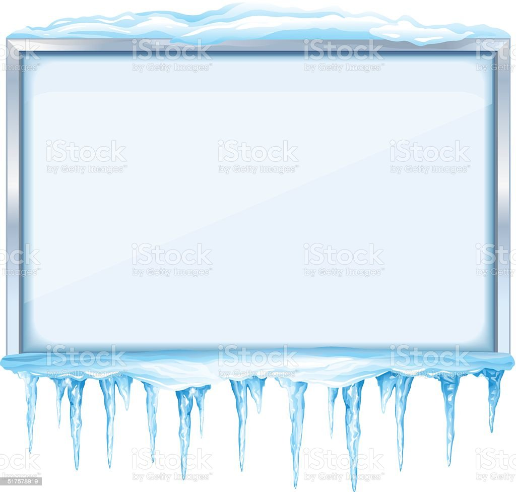 Empty Winter Board with Icicles vector art illustration