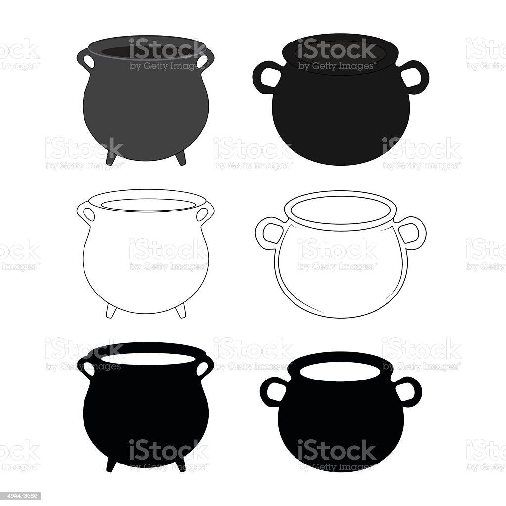 Empty witch cauldron, pot set. vector art illustration