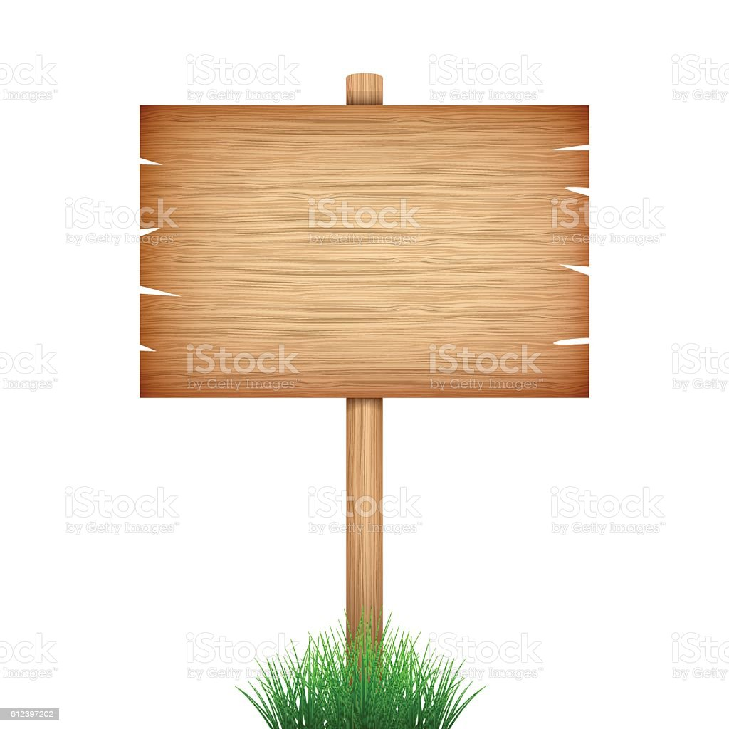 empty wood sign board  in green grass on white background vector art illustration