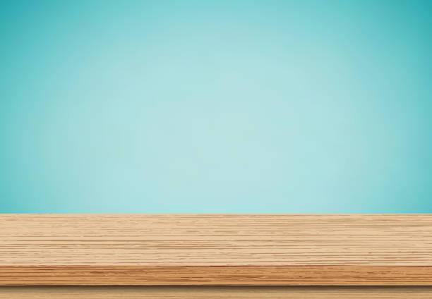 puste drewniane blat niebieski tło - drewno tworzywo stock illustrations