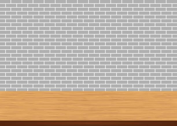 illustrations, cliparts, dessins animés et icônes de table en bois vide haut sur fond gris mur brique - architecture intérieure beton