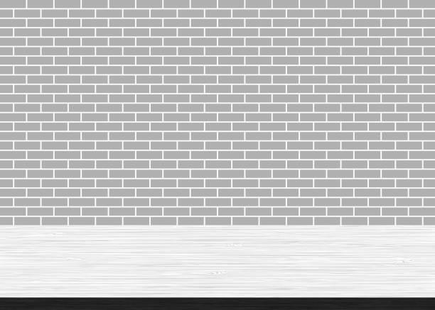 illustrations, cliparts, dessins animés et icônes de table en bois vide haut sur fond de mur blanc brique - architecture intérieure beton