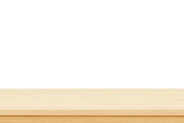 あなたのプロダクトを表示するか、またはモンタージュのために使用される白い背景の空の木のテーブルの上 - 机点のイラスト素材/クリップアート素材/マンガ素材/アイコン素材